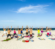 People enjoy the fitness course at south beach Royalty Free Stock Image