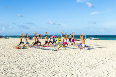 People enjoy the fitness course at south beach Royalty Free Stock Photos