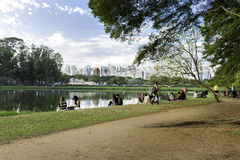People enjoy a hot day in Ibirapuera Park Stock Images