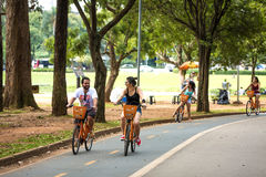 People enjoy a hot day in Ibirapuera Park in Sao Paulo, Brazil.  royalty free stock photography