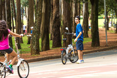 People enjoy a hot day in Ibirapuera Park in Sao Paulo, Brazil.  royalty free stock image