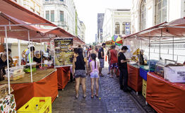 People enjoy a local market on the street in the downtown of Recife, Pernambuco Stock Image
