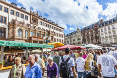 People enjoy the market at central market place in Wiesbaden Royalty Free Stock Photo