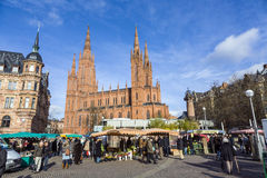 People enjoy the market at central market place in Wiesbaden Stock Images