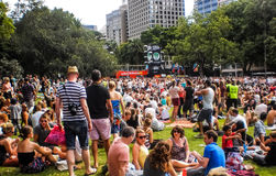 People enjoy music in Hyde park Royalty Free Stock Images