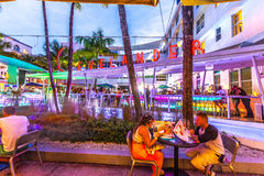 People Enjoy Nightlife At Ocean Drive In The Clevelander Bar Royalty Free Stock Photo