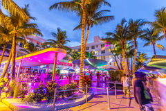 People enjoy nightlife at ocean drive in the clevelander bar Royalty Free Stock Photography