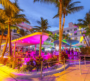 People enjoy nightlife at ocean drive in the clevelander bar Stock Photos