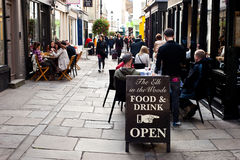 People enjoy outdoor dining in London Stock Photo