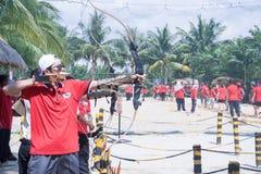People enjoy playing archery Stock Photos
