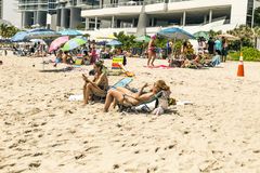 People enjoy and relax the beach Royalty Free Stock Photo