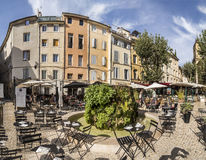 People enjoy the restaurant at the central market place with fou. AIX EN PROVENCE, FRANCE - AUG 19, 2016: people enjoy the restaurant at the central market place stock photos