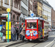 people enjoy the ride with the Ebbelwei express in Frankfurt, Royalty Free Stock Photos