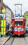 people enjoy the ride with the Ebbelwei express in Frankfurt, Royalty Free Stock Image