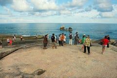 People enjoy the sea view at the seaside at Kog Samui, Thailand. KOH SAMUI, THAILAND - APRIL 05, 2012: Unidentified people enjoy the sea view at the seaside at royalty free stock photography