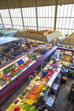 People enjoy shopping. FRANKFURT, GERMANY - MAY 19, 2014: people enjoy shopping in the Kleinmarkthalle in Frankfurt, Germany. The hall from 1954 is the most stock image