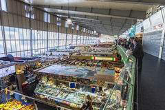 People enjoy shopping in the Kleinmarkthalle in Frankfurt, Germany. FRANKFURT, GERMANY - MAR 29, 2014: people enjoy shopping in the Kleinmarkthalle in Frankfurt stock image