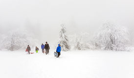 People enjoy the snow and winter area at the Feldberg in Hesse Royalty Free Stock Photography