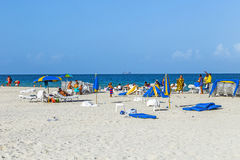 People enjoy south beach  in Miami Stock Image