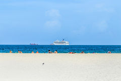 People enjoy south beach  in Miami Royalty Free Stock Photography