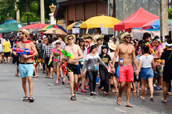 People enjoy splashing water together in songkran festival Royalty Free Stock Photography