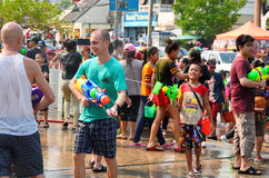 People enjoy splashing water together in songkran festival Stock Photo