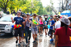 People enjoy splashing water together in songkran festival Stock Images