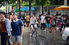 People enjoy splashing water together in songkran festival Stock Image