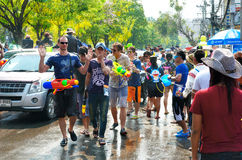 People enjoy splashing water together in songkran festival Royalty Free Stock Photo