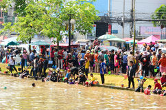People enjoy splashing water together in songkran festival Stock Photography