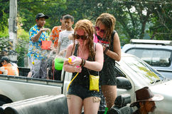 People enjoy splashing water together in songkran festival Royalty Free Stock Photos