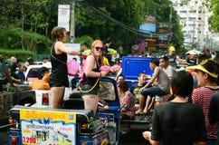 People enjoy splashing water together in songkran festival Royalty Free Stock Photos