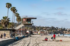 People Enjoy Sunny Day At La Jolla Shores In San Diego County Stock Photo