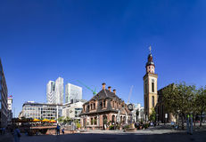 People enjoy the sunny day  in Frankfurt, Germany in cafe Hauptw Stock Photos