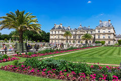 People enjoy sunny day in the Luxembourg Gardens in Paris, Franc Stock Photo
