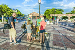 People enjoy the sunset point at Mallory square in Key Wes Royalty Free Stock Image