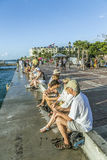 People enjoy the sunset point at Mallory square in Key Wes Stock Image