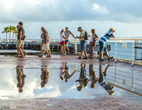 People enjoy the sunset point at Mallory square in Key Wes Royalty Free Stock Photos