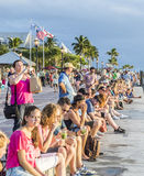 People enjoy the sunset point at Mallory square in Key Wes Royalty Free Stock Photo