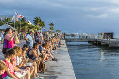 People enjoy the sunset point at Mallory square in Key Wes Stock Photography