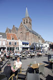 People enjoy the sunshine in the old city of amersfoort Royalty Free Stock Images