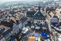 People enjoy the 24th Barbarossamarkt festival. GELNHAUSEN, GERMANY - MARCH 9. people enjoy the 24th Barbarossamarkt festival on March 9, 2014 in Gelnhausen royalty free stock images