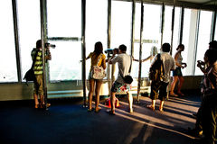 People enjoy the view overlooking Bangkok's skyline Royalty Free Stock Photo