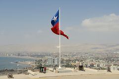 People enjoy the view to Arica city from el Morro de Arica hill in Arica, Chile. Royalty Free Stock Images