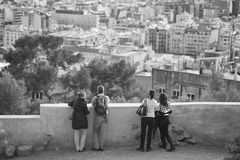 People enjoy the view to Barcelona Stock Photo