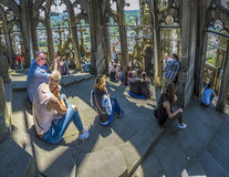 People enjoy the view from the Ulmer Muenster to the skyline of. ULM, GERMANY - MAY 26, 2016: people enjoy the view from the Ulmer Muenster to the skyline of Ulm royalty free stock images