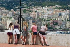People enjoy the view from the viewpoint in Monaco. MONACO, MONACO - JUNE 17, 2015: Unidentified people enjoy the view from the viewpoint in Monaco stock photography