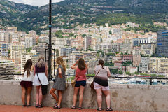 People enjoy the view from the viewpoint in Monaco. MONACO, MONACO - JUNE 17, 2015: Unidentified people enjoy the view from the viewpoint in Monaco royalty free stock images