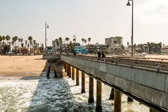 People Enjoy a Visit to Venice Beach Fishing Pier in Southern California Stock Image