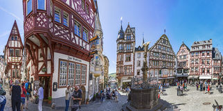 People enjoy visiting the  old historic town of Bernkastel-Kues. BERNKASTEL-KUES, GERMANY - MAY 25, 2017: people enjoy people enjoy visiting the  old historic Stock Photos